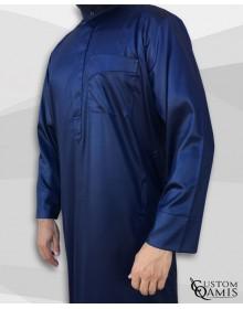 Qamis Classic Saoudi bleu marine satiné Tissu Precious