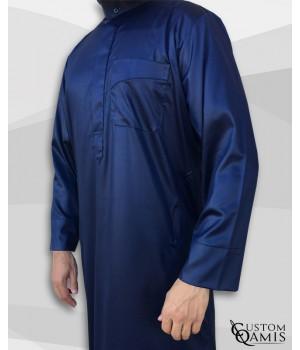 Classic Saudi Thobe navy blue satin Precious Fabric