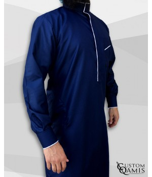 Edge thobe fabric Platinium navy blue and white