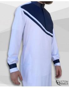 Qamis Wave tissu Precious blanc et bleu marine satinés