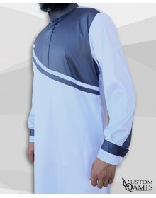 Qamis Wave tissu Precious blanc et gris satinés
