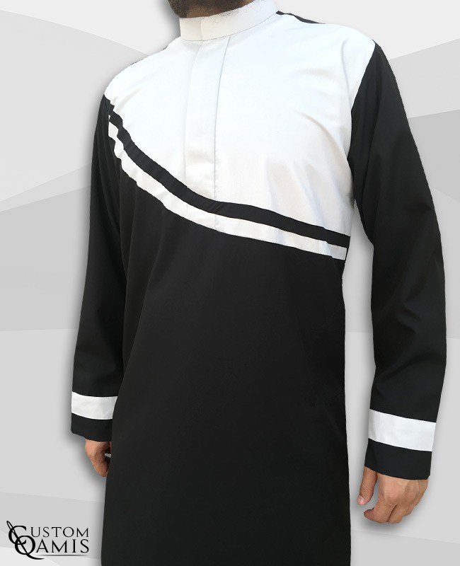 Qamis Wave tissu Spring noir et blanc mat