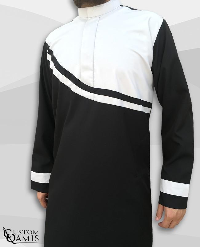 Wave thobe fabric Spring black and white matt