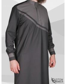 Qamis Wave tissu Cashmere Wool gris foncé et gris