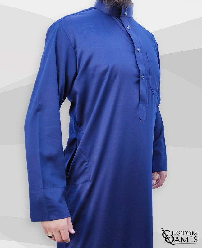 Classic Saudi Thobe royal blue satin Precious Fabric