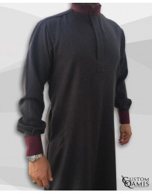 Qamis Elegance tissu Imperial gris anthracite et bordeaux