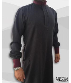 Elegance thobe fabric Imperial charcoal grey and burgundy