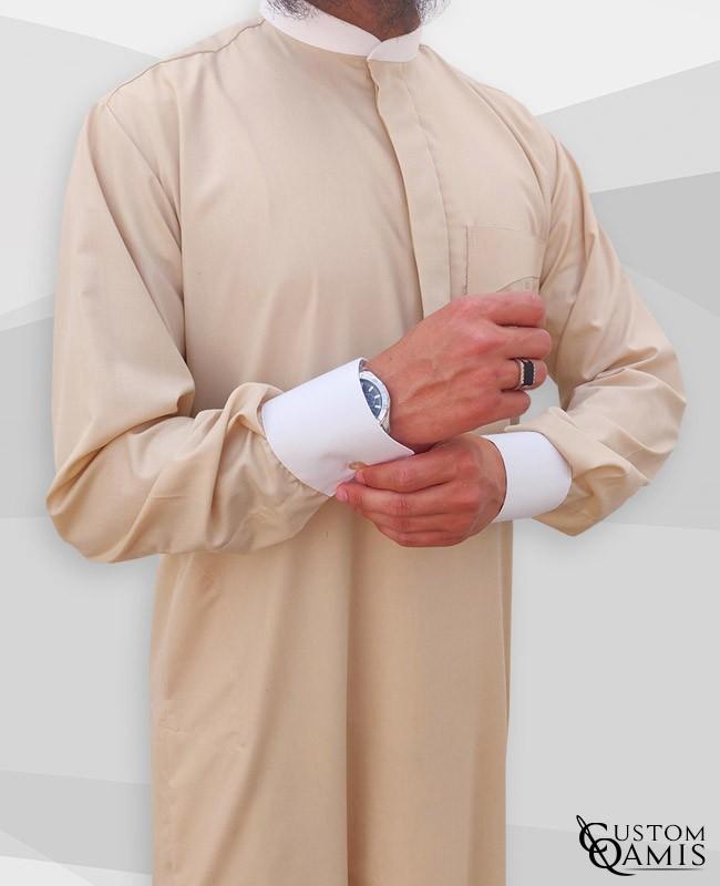 Qamis Elegance tissu Cotton Beige clair et Blanc