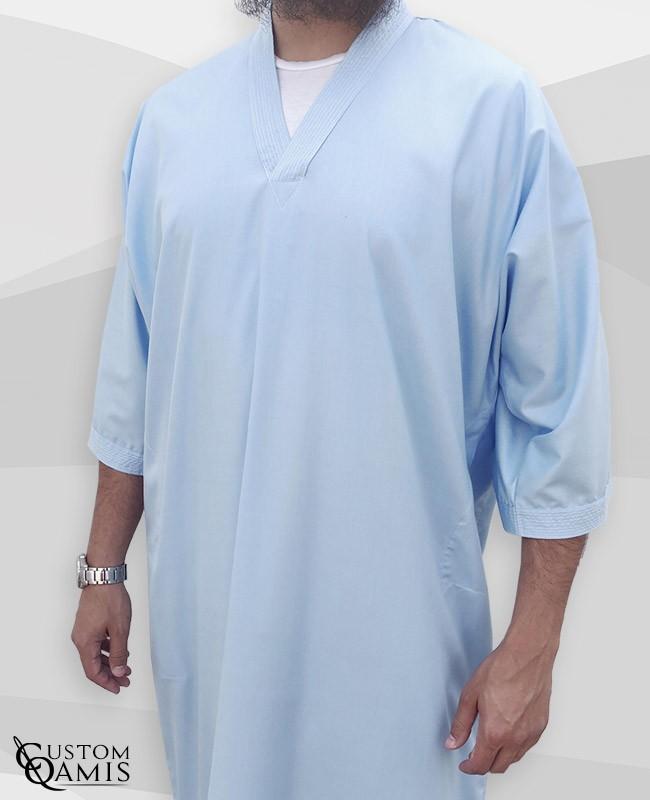 Gandoura Fabric Cotton sky blue
