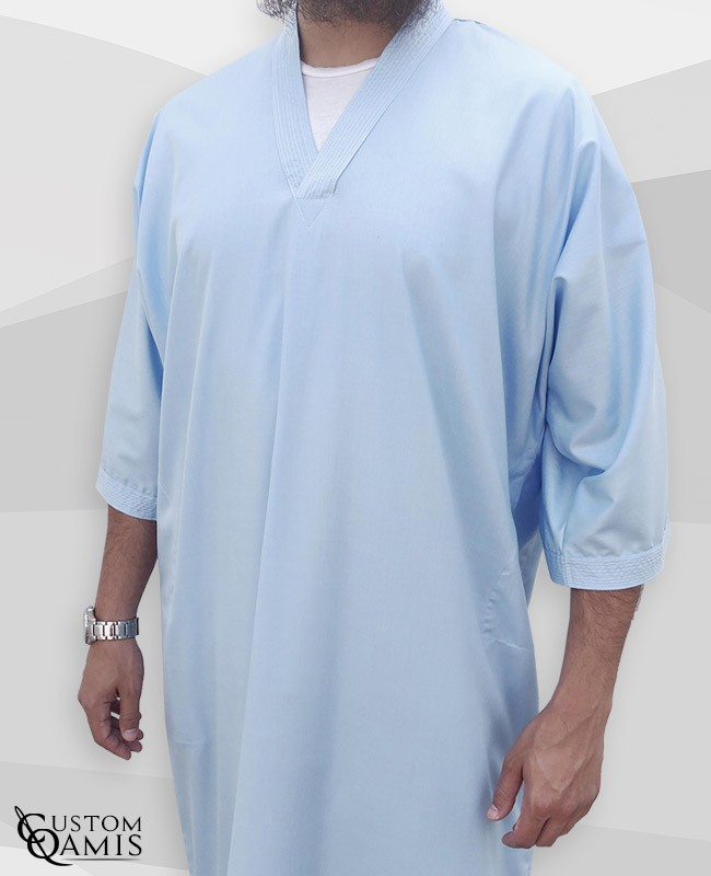 Gandoura tissu Cotton Bleu ciel