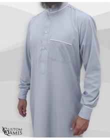 Qamis Trim tissu Cotton gris clair et blanc