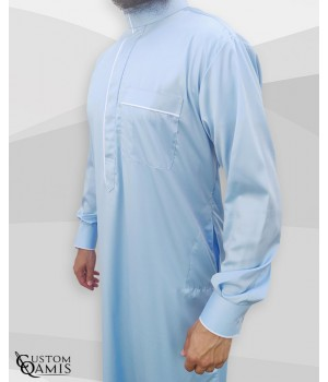 Qamis Edge tissu Precious bleu ciel  et blanc