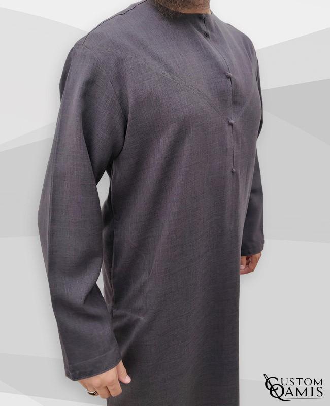 Qamis Emirati tissu Imperial gris anthracite
