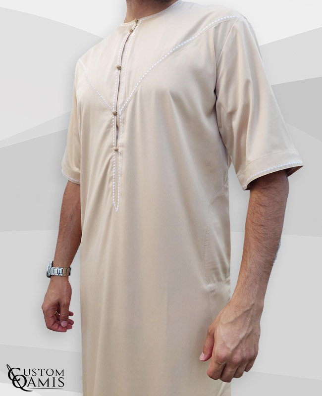 Emirati Thobe fabric Cotton light Beige Short sleeves with white embroidery