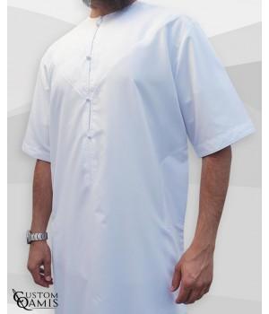 Emirati Thobe fabric Platinium white Short sleeves with embroidery