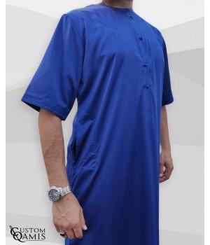 Emirati Thobe fabric Precious royal blue matt Short sleeves with embroidery
