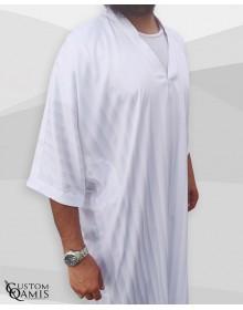 Gandoura tissu Royal Blanc à rayures