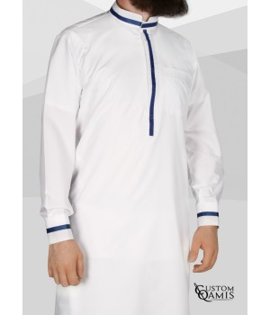 Trend thobe fabric Platinium white and navy blue strips Mao Collar with cuffs