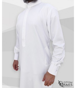 Classic Saudi Thobe White Spring Fabric with cuffs