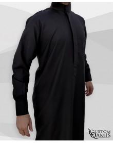 Qamis Classic Saoudi noir Tissu Sping avec manchettes
