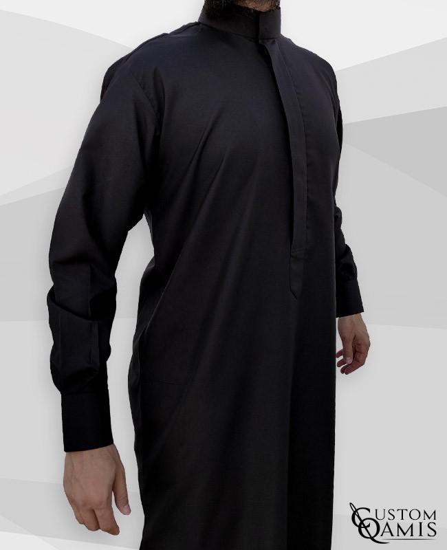 Classic Saudi Thobe black Spring Fabric with cuffs