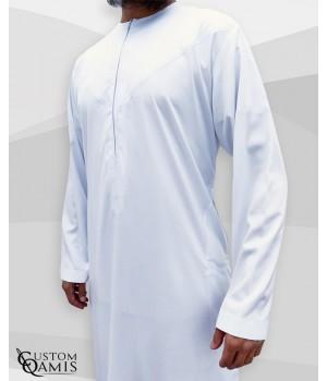 Emirati Thobe with zip fabric Precious white satin