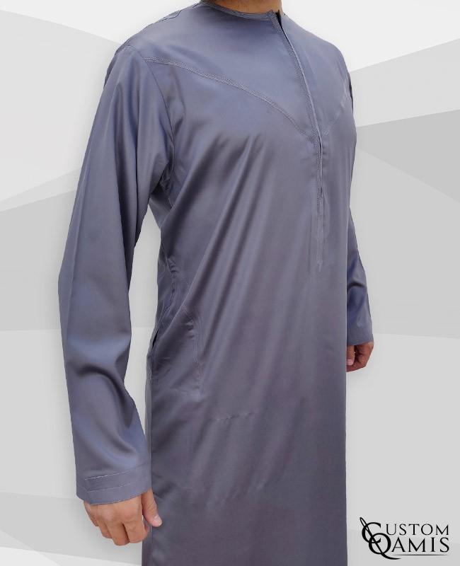 Qamis Emirati à zip tissu Precious gris satiné