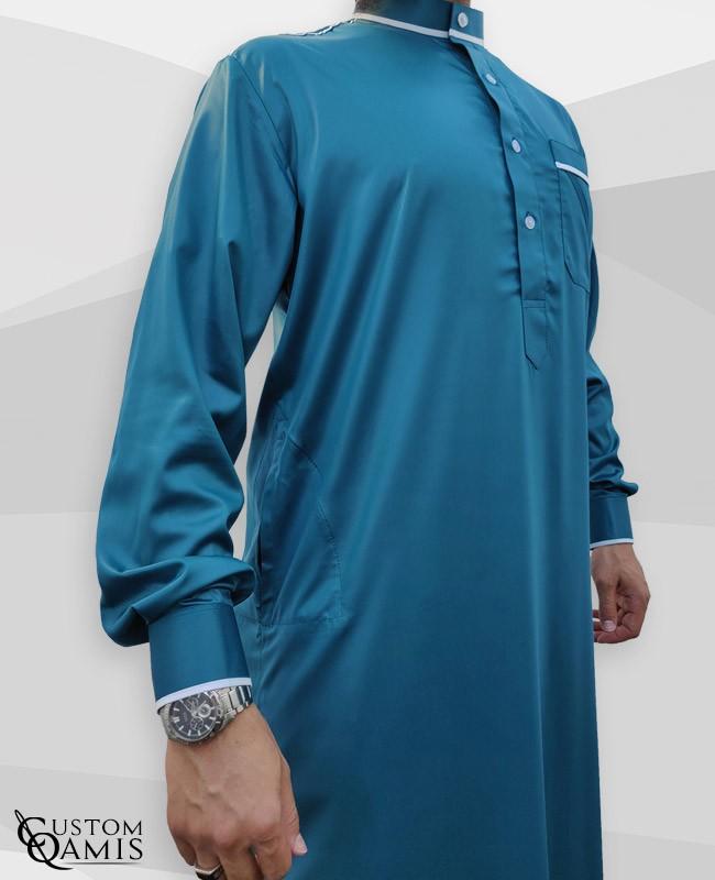 Trim thobe fabric Precious Bluish green and white satin Kuwaiti collar
