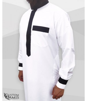 Two Tone thobe fabric Platinium white and black Saudi collar with cuffs
