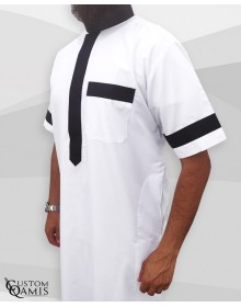Two Tone thobe fabric Platinium white and black Saudi collar Short sleeves