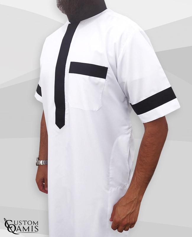 Two Tone thobe fabric Platinium white and black Saudi collar Short sleeves