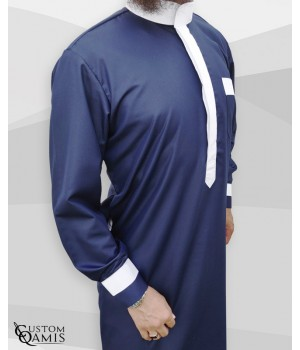 Two Tone thobe fabric Platinium navy blue and white Saudi collar with cuffs