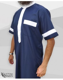 Two Tone thobe fabric Platinium navy blue and white Saudi collar Short sleeves