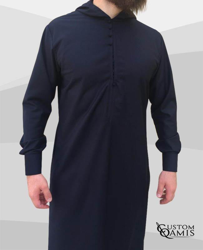 Djalabiya tissu Cashmere Wool Bleu marine