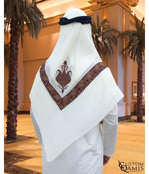 Cream and Brown Embroidered Yemeni Shemagh