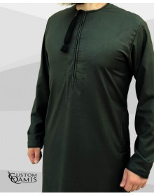 Omani thobe Cashmere Wool green fabric and black embroidery