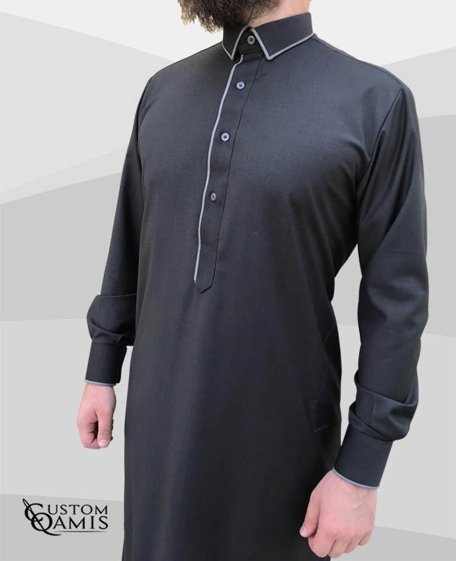 Qamis Edge tissu Cashmere Wool Gris foncé et gris clair