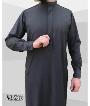 Qamis Koweiti Tissu Cashmere Wool Gris avec manchettes souples