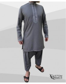 Sultan tunic set Thobe light Grey with sarouel qandrissi cut