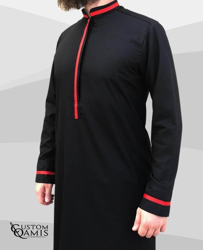 Qamis Trend tissu Cashmere Wool noir et bandes rouges