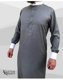 Qamis Elegance tissu Cashmere Wool Gris clair et blanc