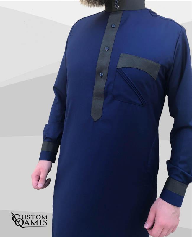 Qamis Two Tone tissu Cashmere Wool bleu marine clair et Vert