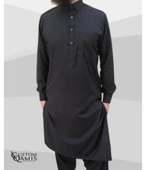 Ensemble Pakistannais Tissu Cashmere Wool Gris foncé avec serwel coupe qandrissi