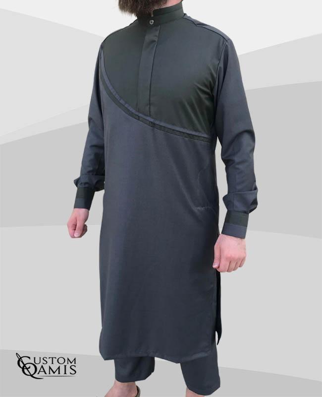 Pakistani set Wave thobe fabric Cashmere Wool Grey and Green