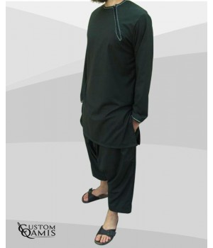 Ensemble Imad tunique en Cashmere Wool Vert avec serwel coupe qandrissi