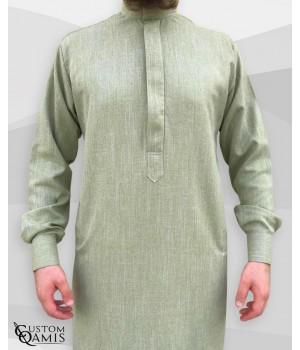 Qamis Saoudien Tissu Imperial vert sans poche