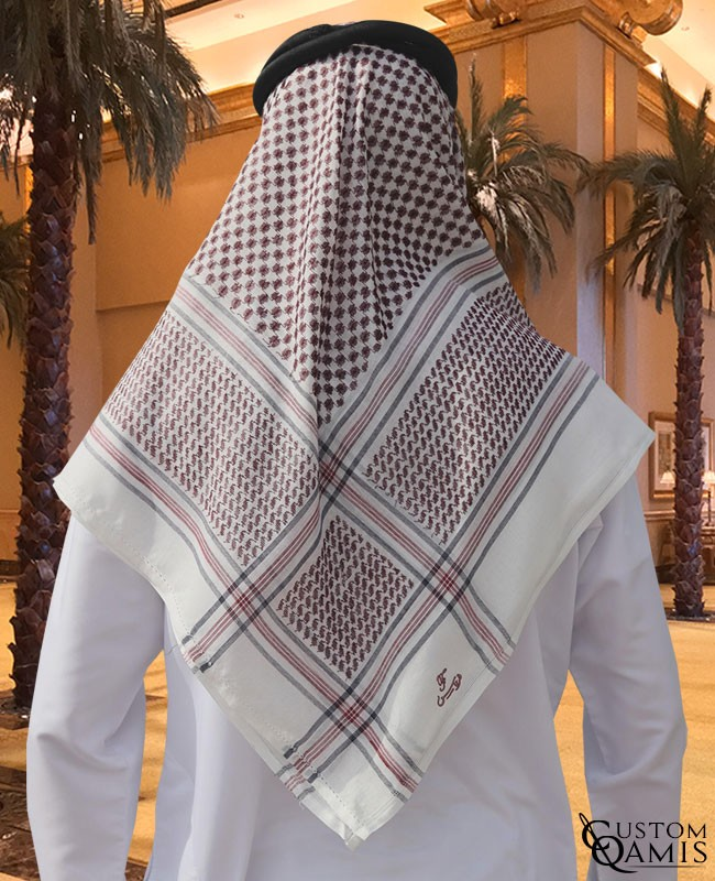 White, burgundy and black Shemagh