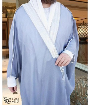 Bisht - Custom-made - Light Gray with silver borders