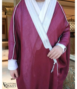Bisht - Custom-made - burgundy with silver borders