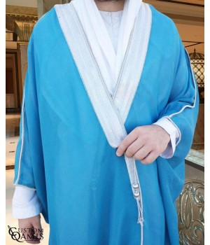 Bisht - Custom-made - Electric Blue with silver borders